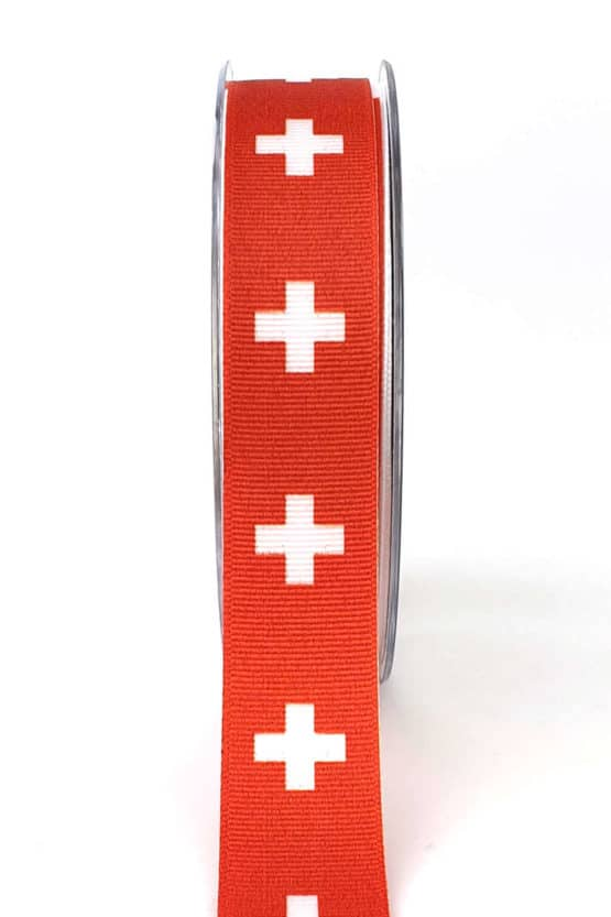 Nationalband Schweiz, rot / weißes Kreuz, 25 mm - nationalband