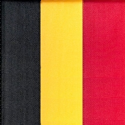 Nationalband Belgien, schwarz-gold-rot, 75 mm, Super-Satin - super-satin-band, nationalband-super-satin-band
