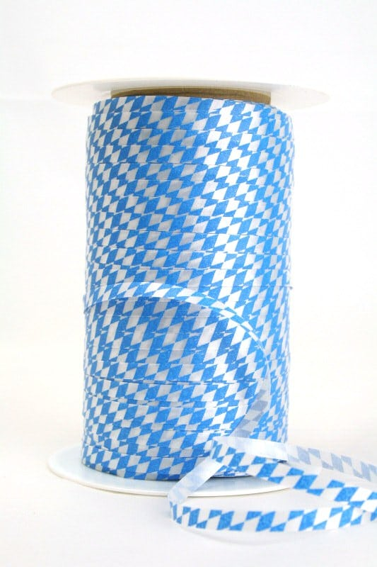 Kräuselband Bayernraute, blau-weiß, 5 mm - vereinsband
