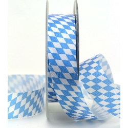 Schleifendekoband 25mm Bayern-Raute blau_weiss_250
