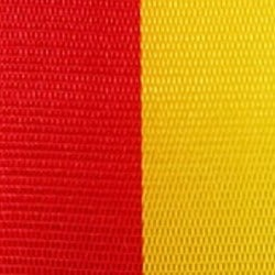 Vereinsband rot-gelb, 100 mm, Super-Satin - vereinsband-super-satin-band, super-satin-band